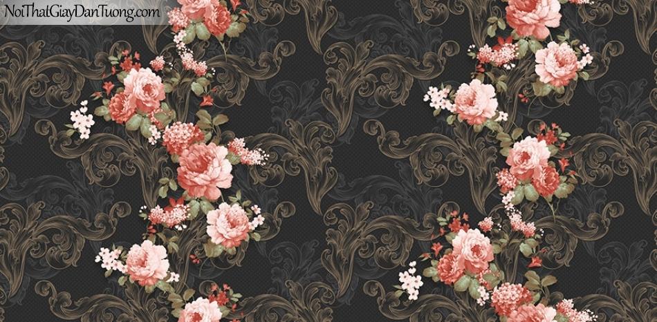 Giấy dán tường The Eight 2130-3 - giấy dán tường màu hồng nền đen, bông hoa 3d màu hồng nền màu tối, màu đen