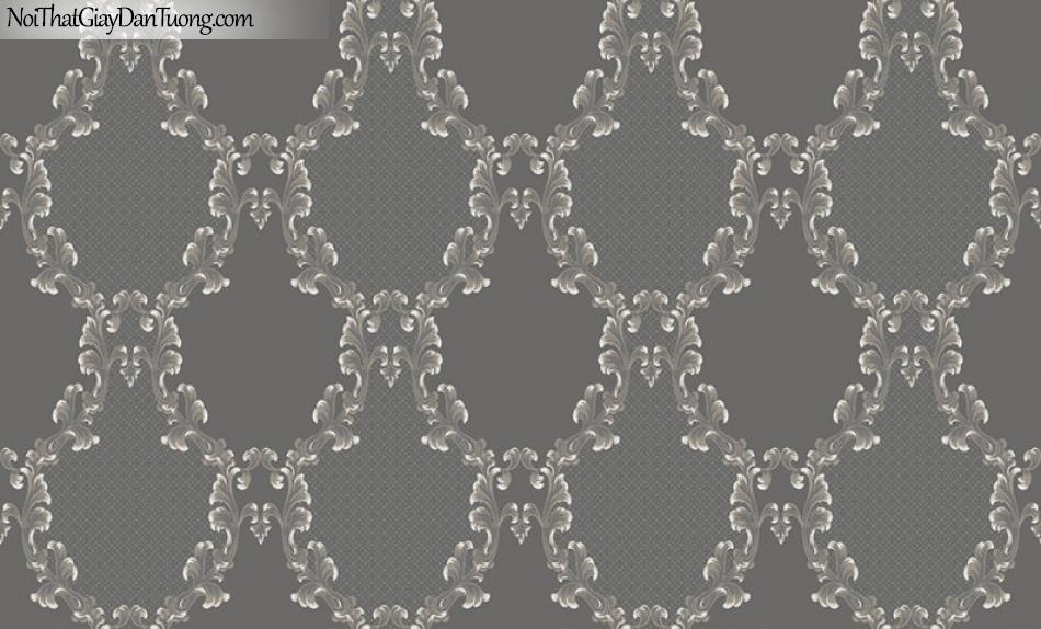 Giấy dán tường The Eight 2132-3 - giấy dán tường hoa văn ca rô màu tối, màu xám, màu nâu, xám tro
