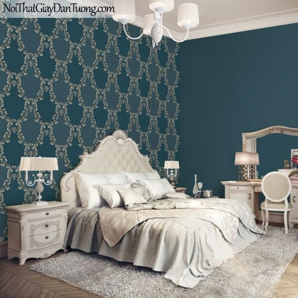 Giấy dán tường The Eight 2132-4 + 2131-4 - phối cảnh giấy dán tường caro, giấy dán tường xanh ngọc, xanh đậm