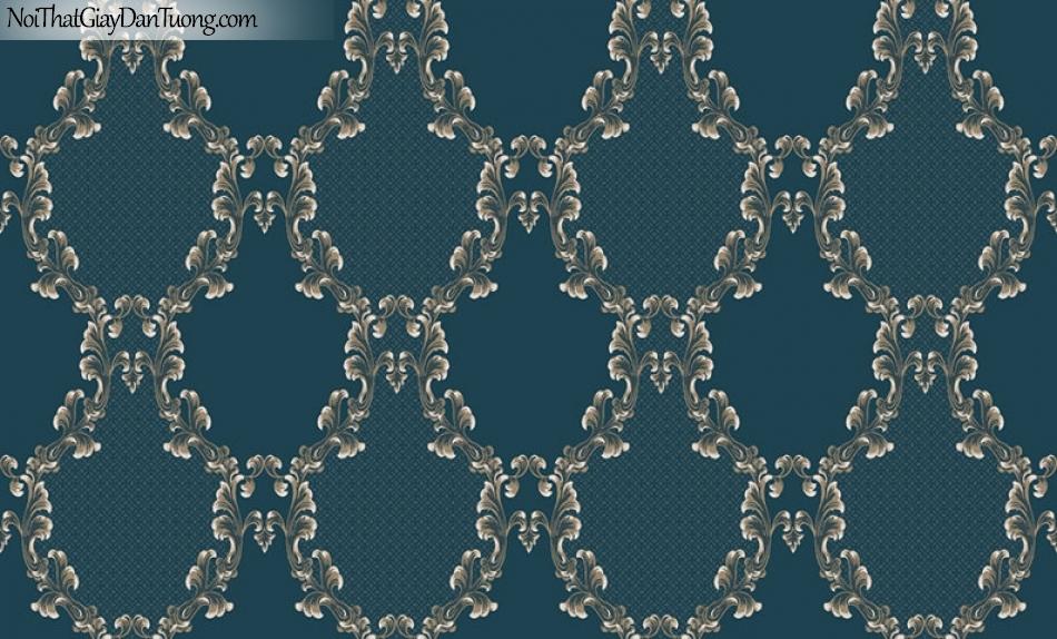 Giấy dán tường The Eight 2132-4 - giấy dán tường caro màu xanh ngọc, ca rô xanh ngọc đậm, điểm nhấn