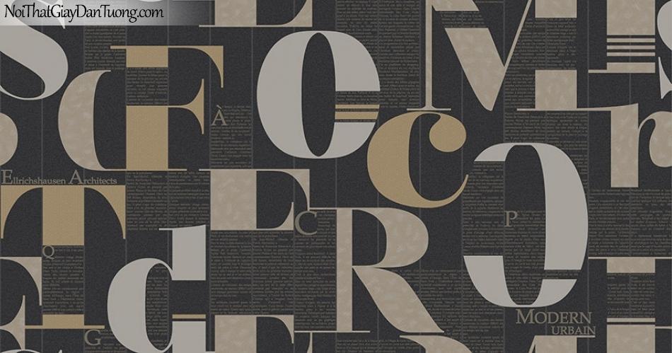 Giấy dán tường The Eight 2134-5 - giấy dán tường chữ, chữ màu tối, chữ đen, chữ xám, chữ nâu, tường chữ màu đen