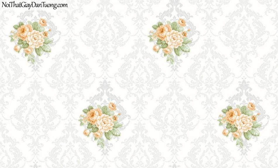 Giấy dán tường The Eight 2137-1 - giay dan tuong hoa van ca ro diem bong, bông hoa trong caro, ca rô màu kem