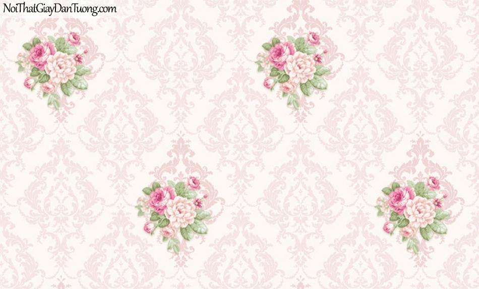 Giấy dán tường The Eight 2137-3 - giấy dán tường ca rô màu hồng, màu hường, hình ca ro lớn