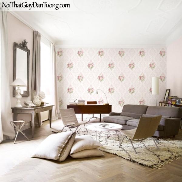 Giấy dán tường The Eight 2137-3 vs 2135-3 - phối cảnh giấy dán tường ca rô màu hồng, và nền giấy trơn màu hồng