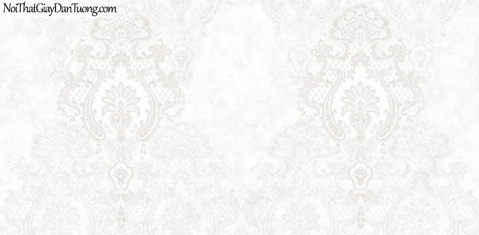 Giấy dán tường The Eight 2139-1 - giấy dán tường hoa văn màu kem, kiểu cỏ điểm, mà trắng ngà