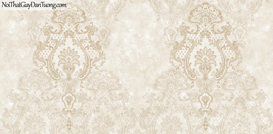 Giấy dán tường The Eight 2139-2 - giay dan tuong hoa văn cổ điểm màu vàng nhạt, mùa vàng kem, hoa văn họa tiết