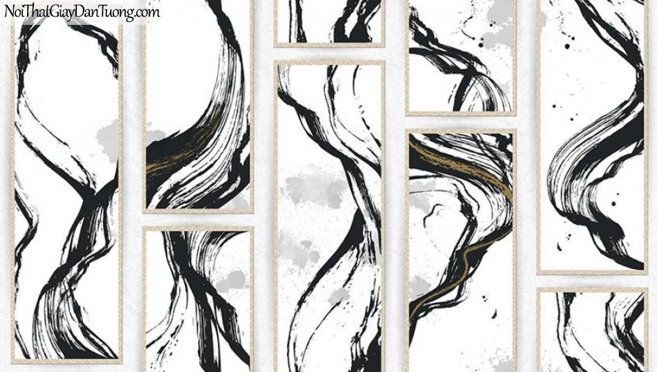 Giấy dán tường The Eight 2141-1 - giấy dán tường giả gạch, hoa văn uốn lượn, phong cách, kết hợp hiện đại và cổ điển