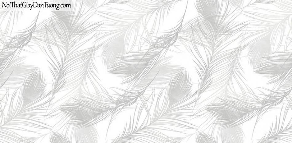 Giấy dán tường The Eight 2143-1 - giấy dán tường long vũ, lông chim, lông vũ màu trắng, lông chim bay, màu kem