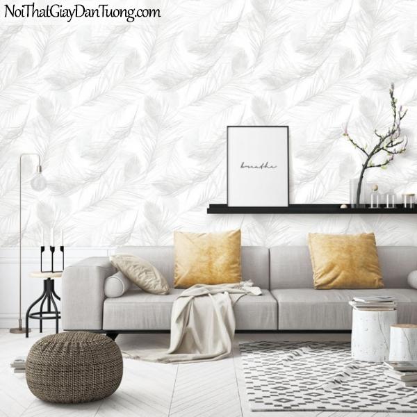 Giấy dán tường The Eight 2143-1 - phối cảnh giấy dán tường lông vũ, lông chim màu kem, lông vũ mà trắng