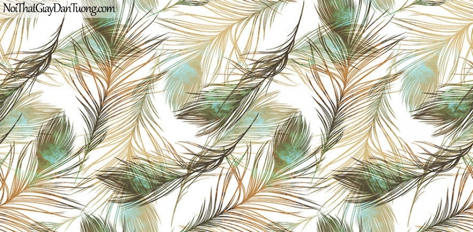 Giấy dán tường The Eight 2143-2 - lông chim, lông vũ, giấy dán tường lông thú, trắng, xám, xanh, vàng
