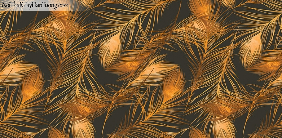Giấy dán tường The Eight 2143-4 - giấy dán tường lông vũ màu đen, nền nên lông màu vàng đồng