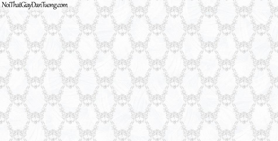 Giấy dán tường The Eight 2145-1 - giấy dán tường hoa văn cổ điển, hoa văn nổi, nền màu kem, màu trắng sữa