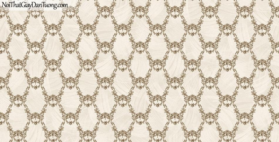 Giấy dán tường The Eight 2145-3 - giấy dán tường hoa văn cổ điển màu vàng nhạt