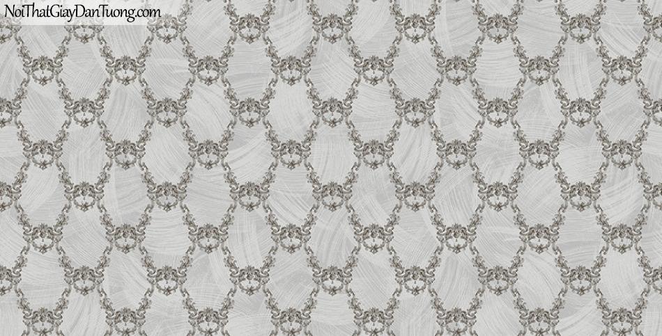 Giấy dán tường The Eight 2145-4 - giấy dán tường hoa văn cổ điển châu âu màu nâu, màu xám tro