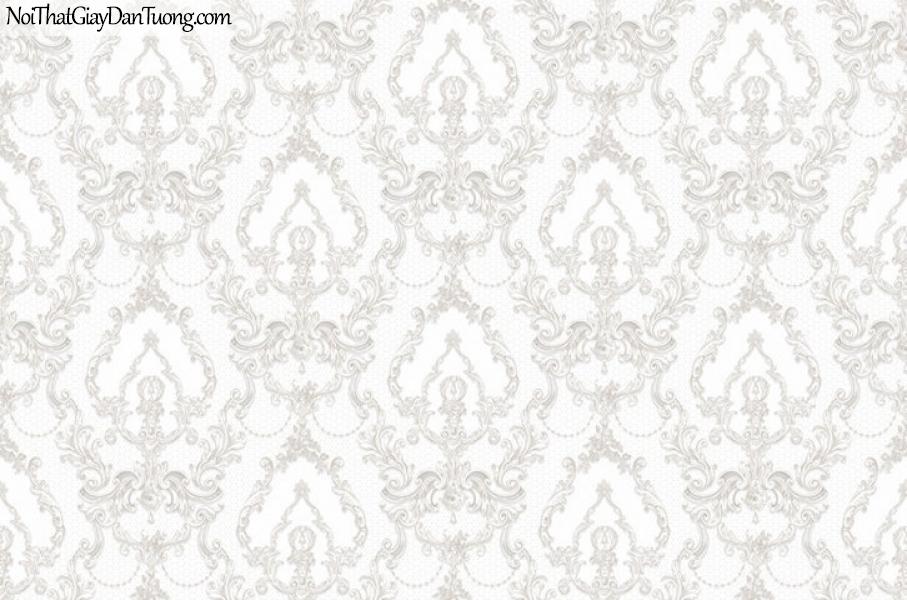 Giấy dán tường The Eight 2146-1 - giấy dán tường hoa văn châu âu cổ điển màu kem, màu trắng, trắng sữ