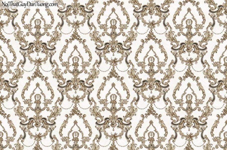 Giấy dán tường The Eight 2146-2 - giấy dán tường hoa vân cổ điển màu vàng nhạt, vàng đồng, phong cách châu âu, cổ điển, bán cổ điển