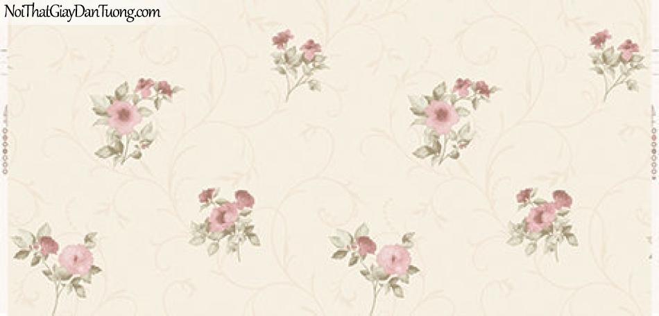 Giấy dán tường Hàn Quốc Hera 2018 ( vol 4 ) - 6006-1 - giấy dán tường hoa, từng bông hoa rơi, hoa màu vàng nhạt rơi