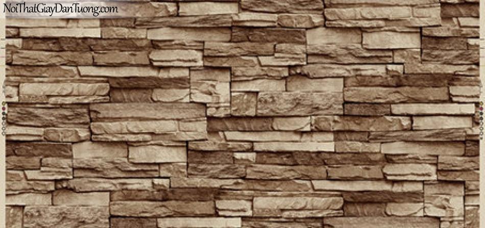 Giấy dán tường Hàn Quốc Hera 6021-4 - giấy dán tường giả đá 3D, tường đá màu đổ sẫm, đỏ nhạt, đá vỡ, đá ghép, đá thẻ