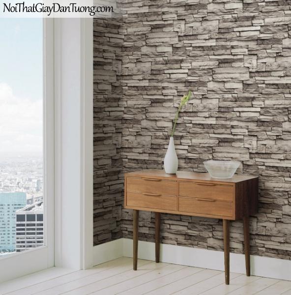 Giấy dán tường Hàn Quốc Hera H6021-3 - Phối cảnh giấy dán tường giả đá, giả đá 3D, đá ghép, đá thẻ, đá 3d màu kem, giá đá trắng