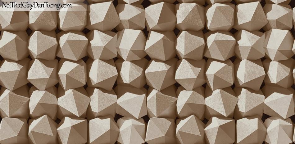 Giấy dán tường Hàn Quốc Hera H6030-3 - giấy dán tường giả đá 3D, đá tròn, đá bi, đá lục giác, đá đa giác, tường đá, vách đá màu vàng kem, vàng nhạt