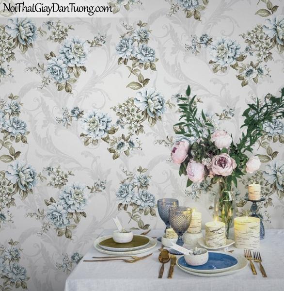 Giấy dán tường Hàn Quốc Hera H6032-3 - giấy dán tường hoa văn màu xanh nhạt, xanh nước biển, xanh da trời, hoa văn cổ điển