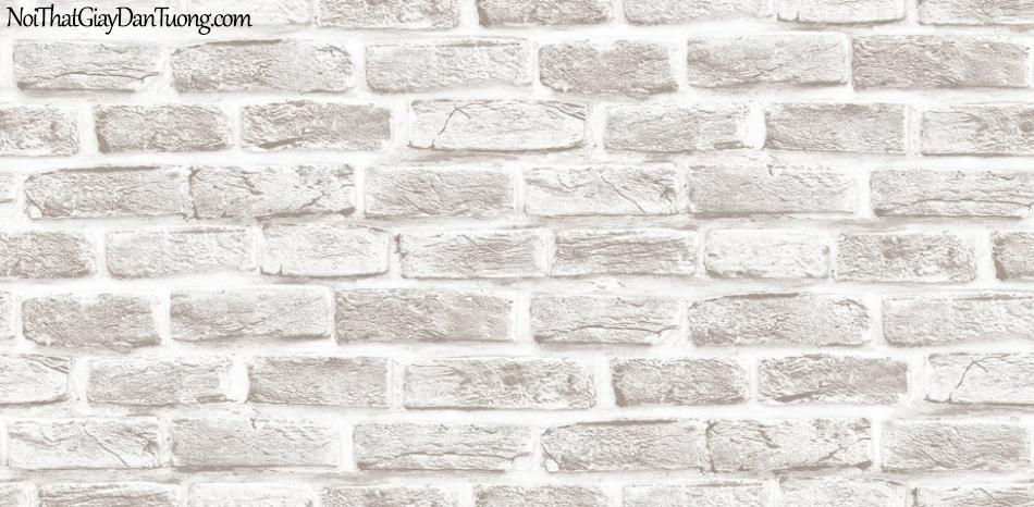 Giấy dán tường Hàn Quốc Hera H6033-1 - giấy dán tường giả gạch trắng, giả gạch trắng 3D, gạch xám, gạch thẻ