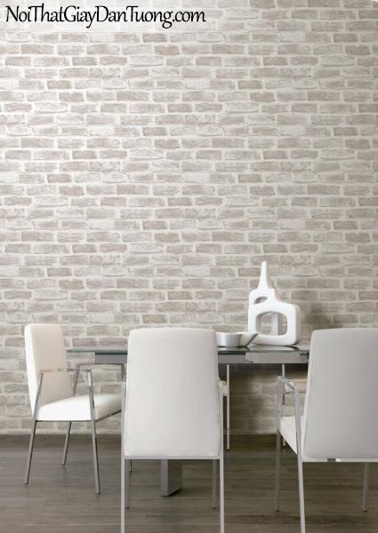 Giấy dán tường Hàn Quốc Hera H6033-1 - phối cảnh giấy dán tường giả gạch 3D, giả gạch trắng xám, gạch xám, gạch trắng, tường gạch