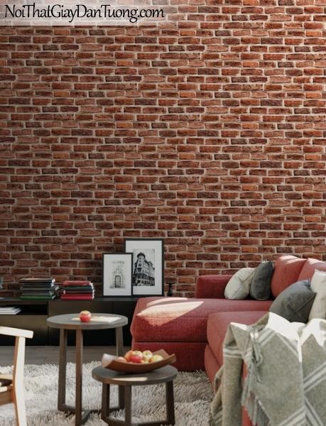 Giấy dán tường Hàn Quốc Hera H6033-2 - giấy dán tường giả gạch 3D, giả gạch 3D màu đỏ, gạch đỏ sẫm, tường gạch thẻ màu đỏ