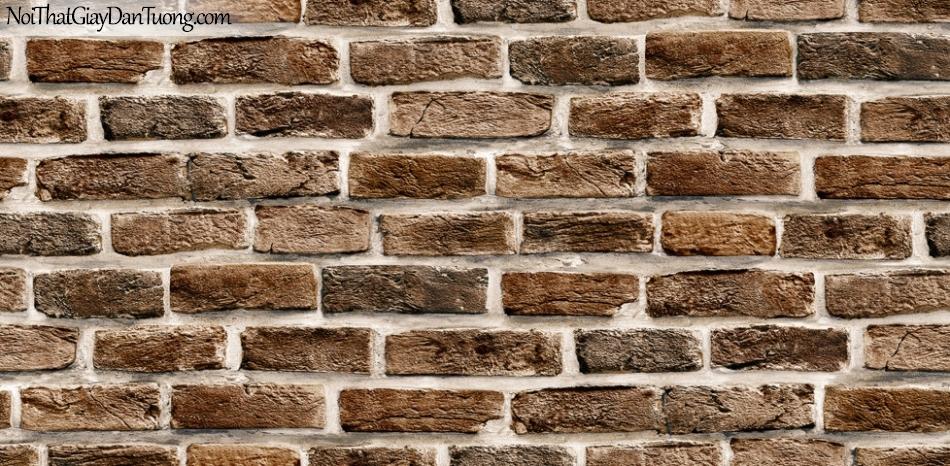 Giấy dán tường Hàn Quốc Hera H6033-3 - Giấy dán tường giả gạch 3D, giả gạch 3D màu xám, gạch xám tro, màu tối, màu sậm, màu đỏ đô