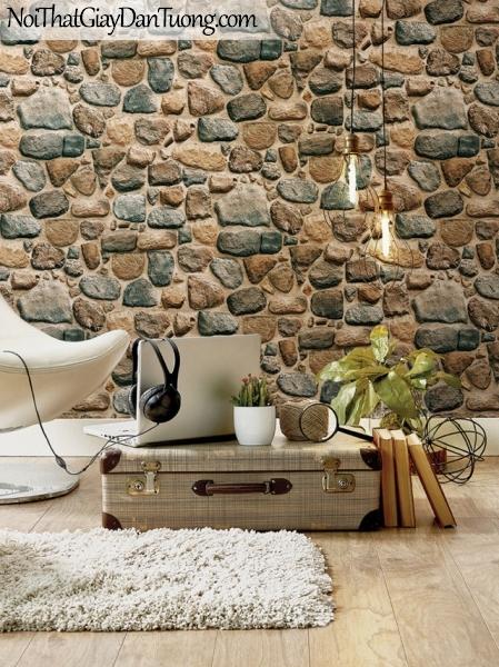 Giấy dán tường Hàn Quốc Hera H6034-3 - giấy dán tường giả đá 3D, đá viên, đá cục, đá ghép, bức tường đá, màu xanh, màu vàng