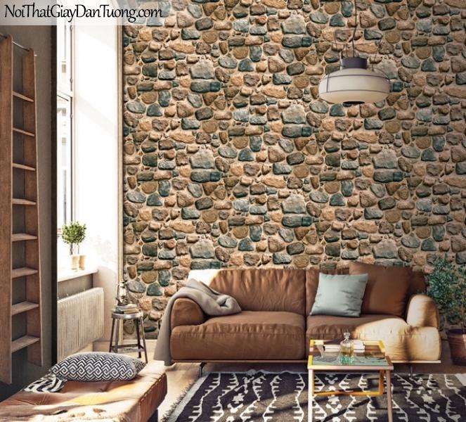 Giấy dán tường Hàn Quốc Hera H6034-3 - giấy dán tường giả đá 3D, đá xanh, đá vàng, bưc tường đá đẹp, đá 3D