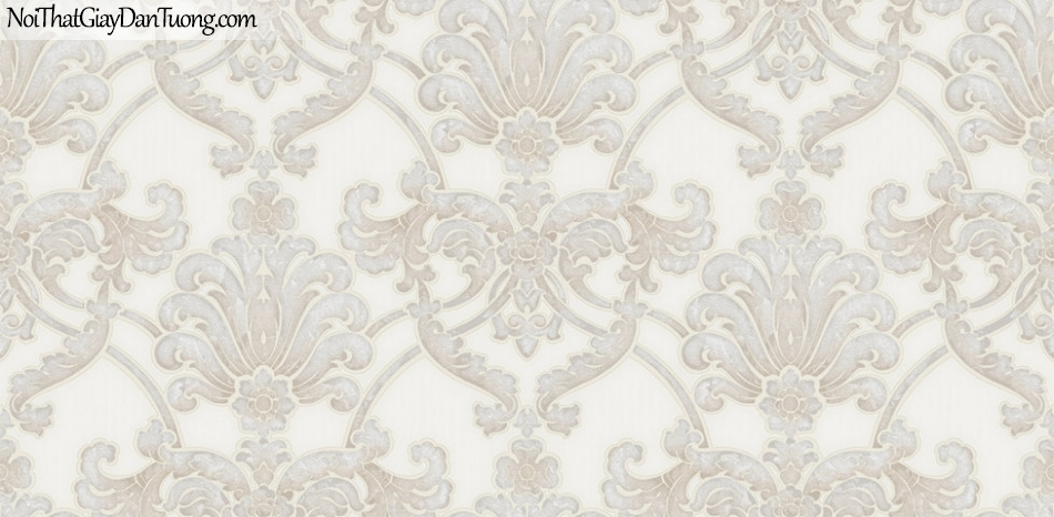 Giấy dán tường Hàn Quốc Hera H6041-1 - giấy dán tường hoa văn nổi, gân nổi, mẫu cổ điển, phong cách Châu Âu, màu kem, màu trắng kem
