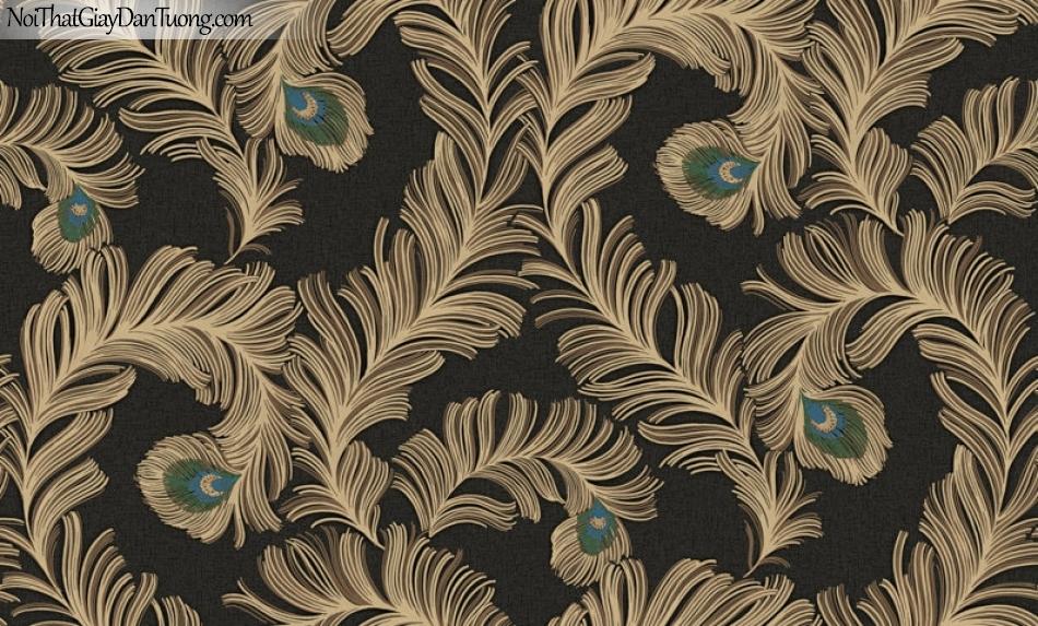 Giấy dán tường Hàn Quốc Hera H6043-3 - giấy dán tường giả lông chim công màu đen, màu tối điểm xanh ngọc