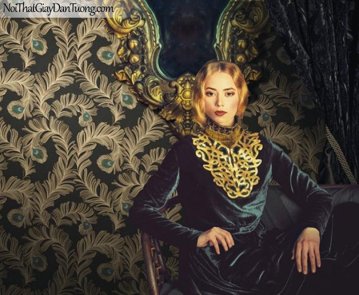 Giấy dán tường Hàn Quốc Hera H6043-3 - giấy dán tường giả lông chim công màu tối, lông công điểm xanh