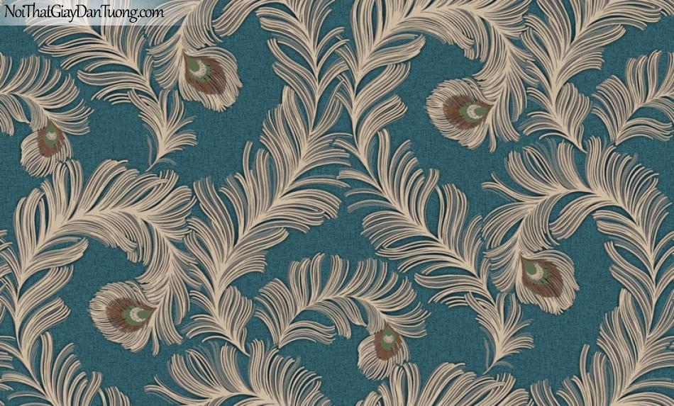 Giấy dán tường Hàn Quốc Hera H6043-4 - giấy dán tường lông chim công nền màu xanh da trời, xanh nước biển