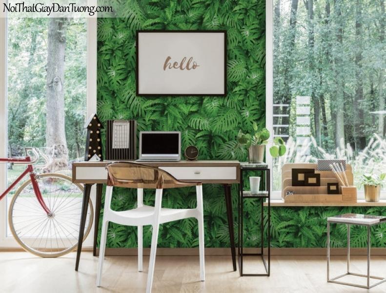 Giấy dán tường Hàn Quốc Hera H6044-1 - giấy dán tường cây cỏ, rừng lá xanh, xanh ngọc, lá cây rậm