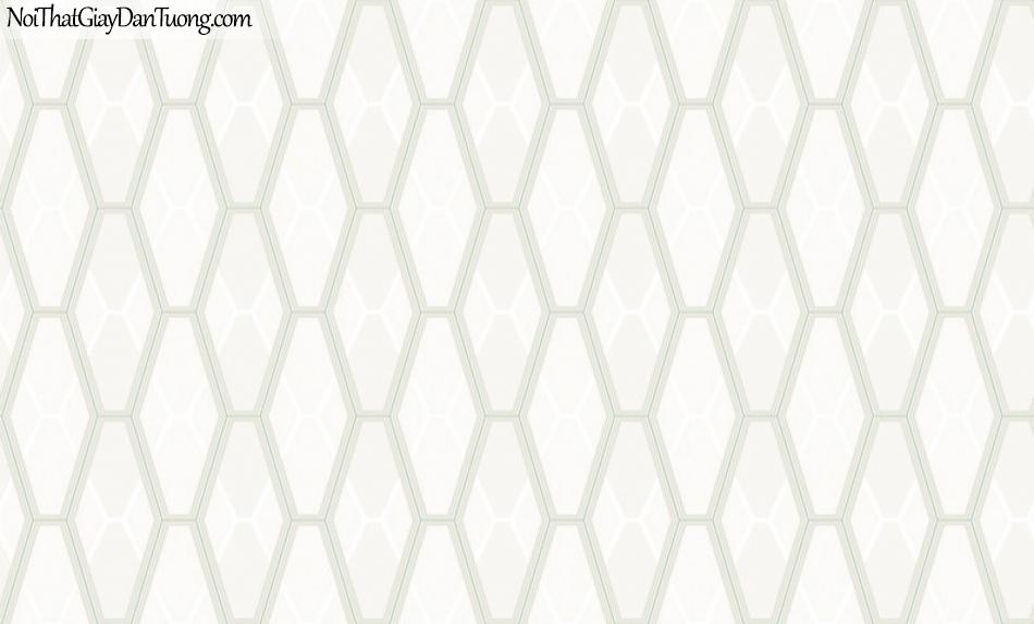 Giấy dán tường Hàn Quốc Hera H6045-1 - giấy dán tường hoa văn lục giác màu trắng sữa, màu sáng