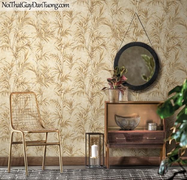 Giấy dán tường Hàn Quốc Hera H6048-2 - giấy dán tường lá cây màu vàng, nền vàng, lá cây kho