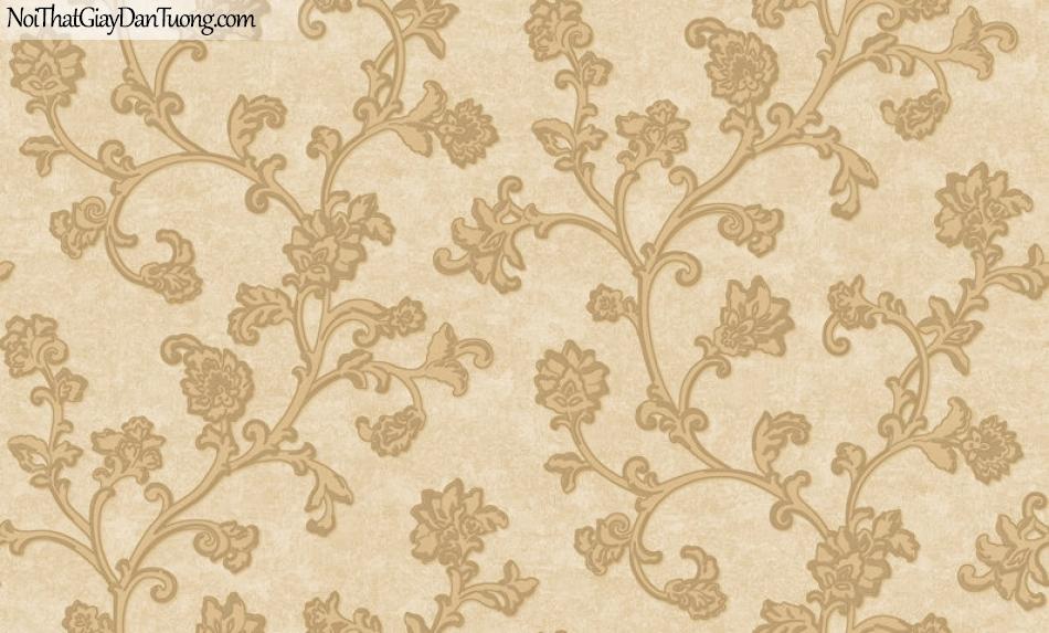 Giấy dán tường Hàn Quốc Hera - H6052-2 giấy dán tường hoa văn màu vàng, hoa văn họa tiết châu âu