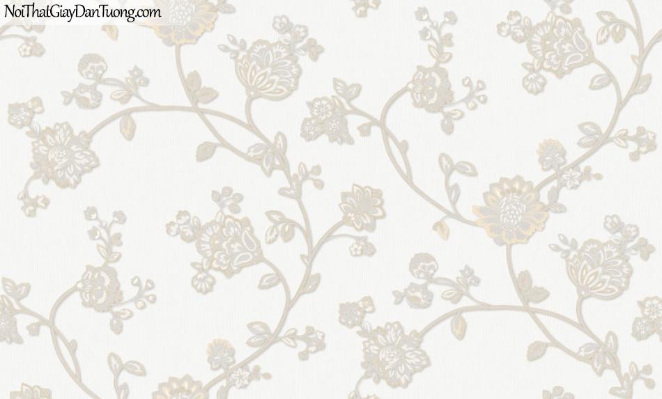 Giấy dán tường Hàn Quốc Hera H6055-1 - giấy dán tường hoa văn màu trắng, hoa văn cổ điển