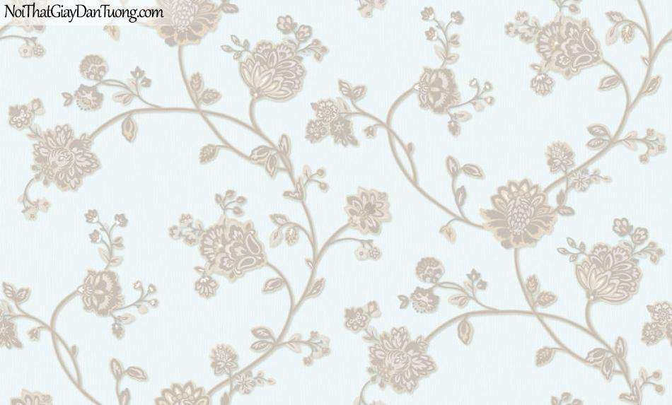 Giấy dán tường Hàn Quốc Hera H6055-2 - giấy dán tường hoa văn cổ điển màu xanh nhạt nhẹ