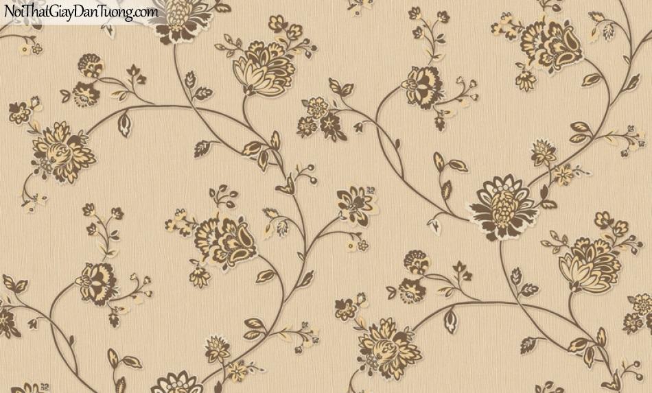 Giấy dán tường Hàn Quốc Hera H6055-4 - giấy dán tường màu vàng, hoa văn cổ điển