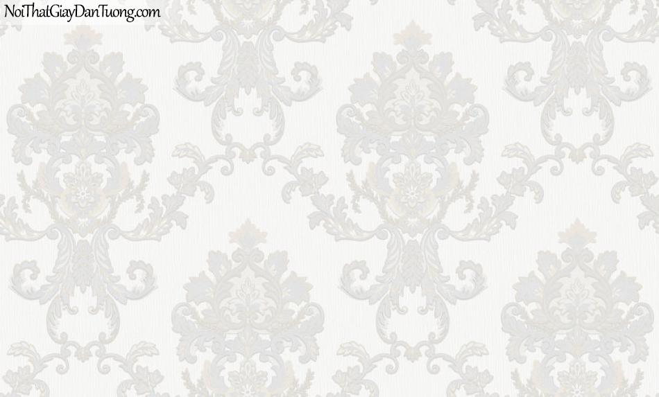 Giấy dán tường Hàn Quốc Hera H6056-1 - giấy dán tường hoa văn màu trắng, sang trọng phong cách cổ điển châu âu