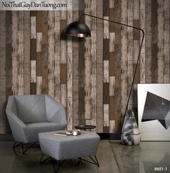 Brandnew, Giấy dán tường 8601-1, Giấy dán tường giả gỗ, gỗ mun, ván ghép, gỗ ghép, tường gỗ