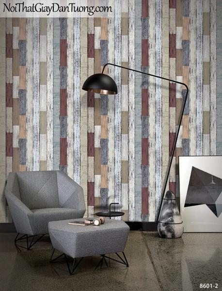 Brandnew, Giấy dán tường 8601-2, Giấy dán tường giả gỗ, gỗ ghép, gỗ màu đỏ, màu vàng