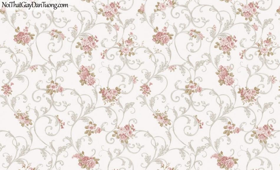 Brandnew, Giấy dán tường 8607-2, Giấy dán tường chi tiết hoa văn, hoa màu hồng nhạt
