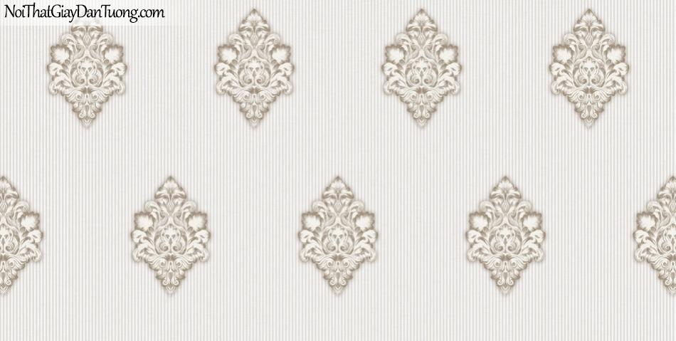 Brandnew, Giấy dán tường 8611-1, Giấy dán tường hoa văn cổ điển Châu Âu, màu xám