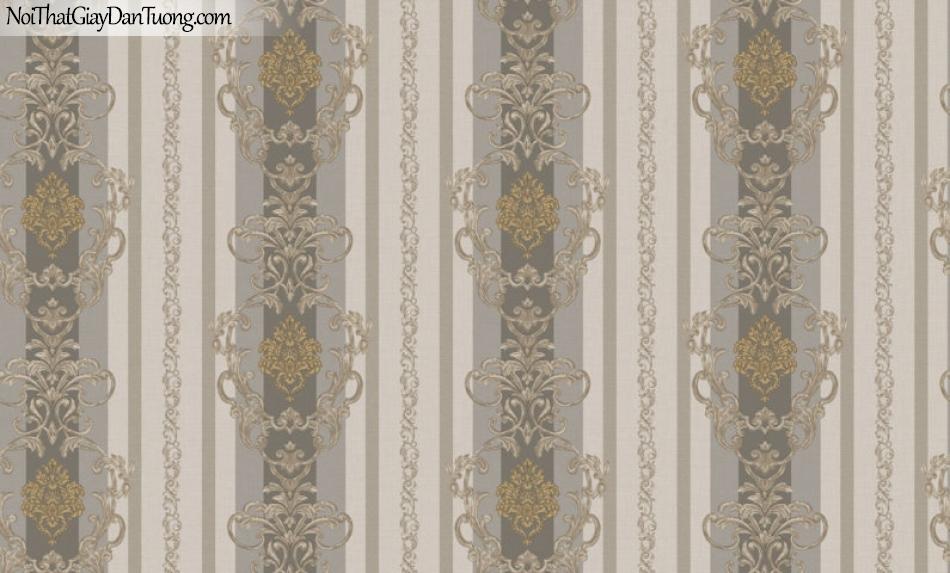 Brandnew, Giấy dán tường 8614-4, Giấy dán tường sọc đứng, chi tiết hoa văn, cổ điển, màu đậm