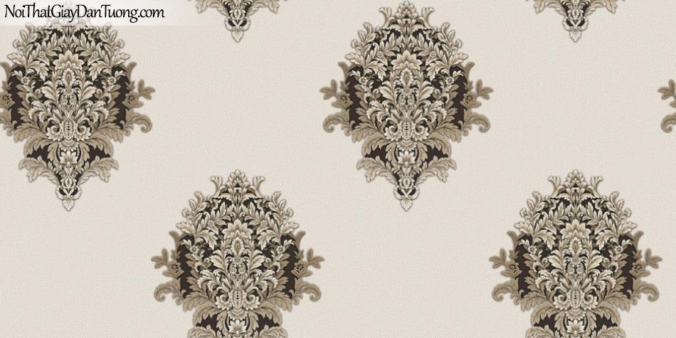 Brandnew, Giấy dán tường 8615-3, Giấy dán tường họa tiết hoa văn cổ điển Châu Âu, sang trọng, tinh tế