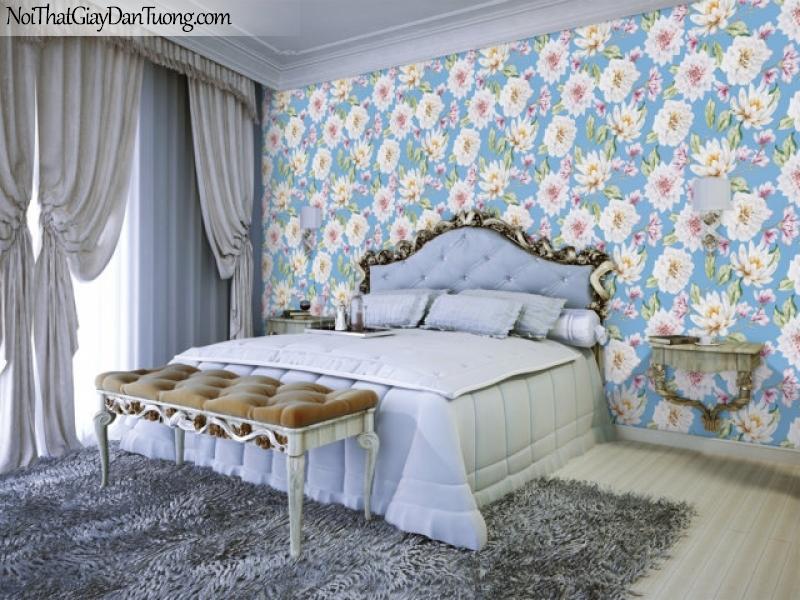 Art Noveau, Giấy dán tường Hàn Quốc 9354-1, Giấy dán tường hoa trrắng, nền xanh, màu sắc nổi bật